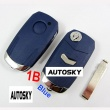Fiat flip remote key shell 1 button blue color