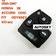 Honda Accord,Civic,Fit,Odyssey remote 433mhz 3 button (2005-2007) for Europe, Middle East