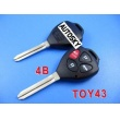 toyota camry remote key shell 4 button-band red button