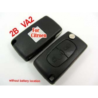 Citroen flip remote key shell 2 button (without battery location)