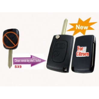Citroen modified flip remote key shell 2 button SX9