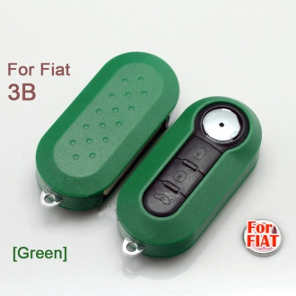 Fiat flip remote key shell 3 button (green color)