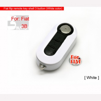 Fiat flip remote key shell 3 button (White color)