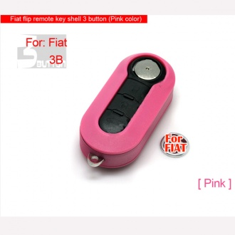 Fiat flip remote key shell 3 button (Pink color)