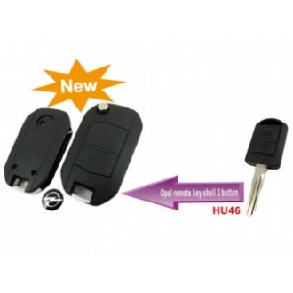 Opel modified flip remote key shell 2 button (HU46)