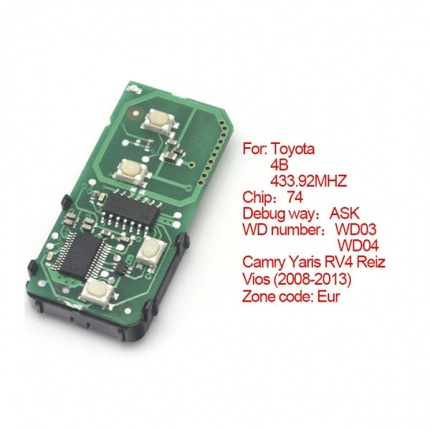 Smart Card Board 4 Buttons 433.92MHZ Number 271451-5290-Eur For Toyota