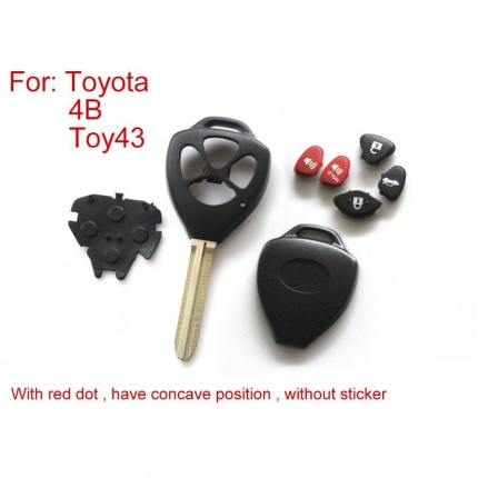 Remote Key Shell 4  Button (With Red Dot Have Concave Position Without Sticker) for Toyota 5pcs/lot
