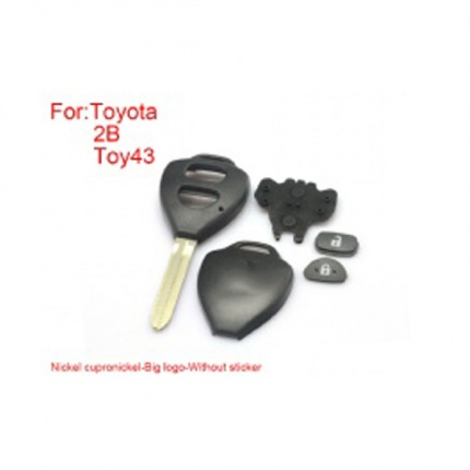 Remote Key Shell 2  Buttons Easy to Cut Copper-Nickel Alloy Big Logo without Sticker for Toyota Corolla 5pcs/lot