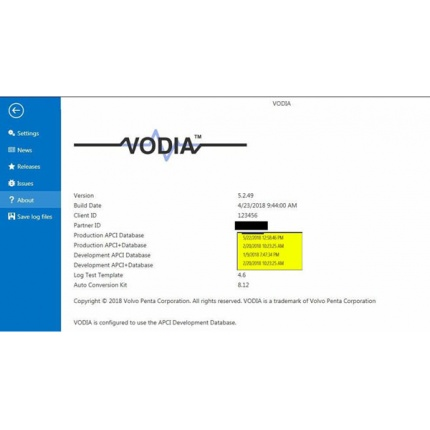 Volvo Vodia Penta VODIA 5.2.50 Activation works with VOCOM with One Time Free